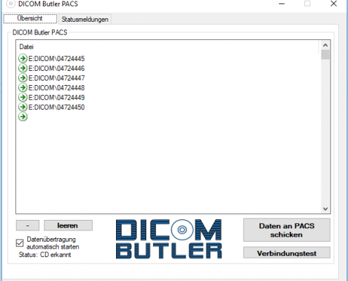 DICOM Butler PACS CD wird abgearbeitet